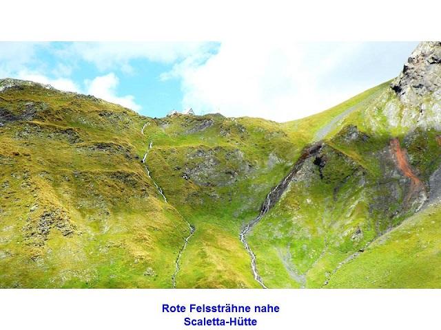 Rote Felssträhne nahe Scaletta-Hütte