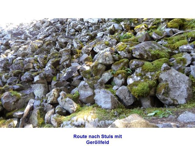 Route nach Stuls mit Geröllfeld